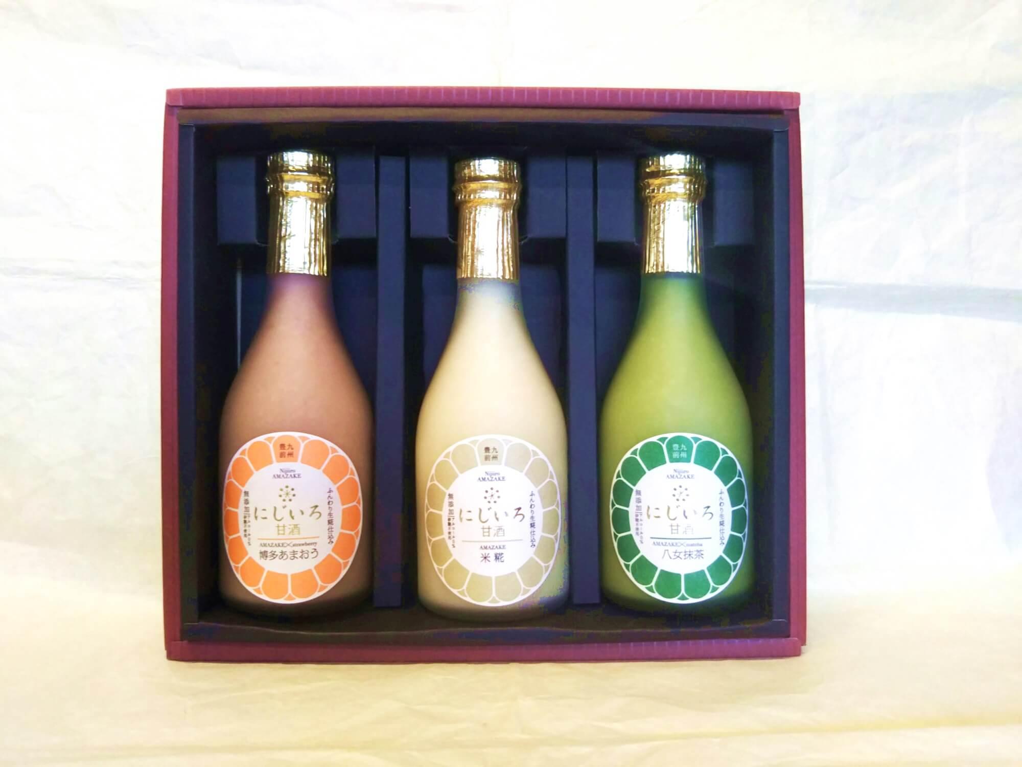 にじいろ甘酒3色ギフトセット(博多あまおう・米糀・八女抹茶) 母の日・お中元・プレゼント・贈り物に