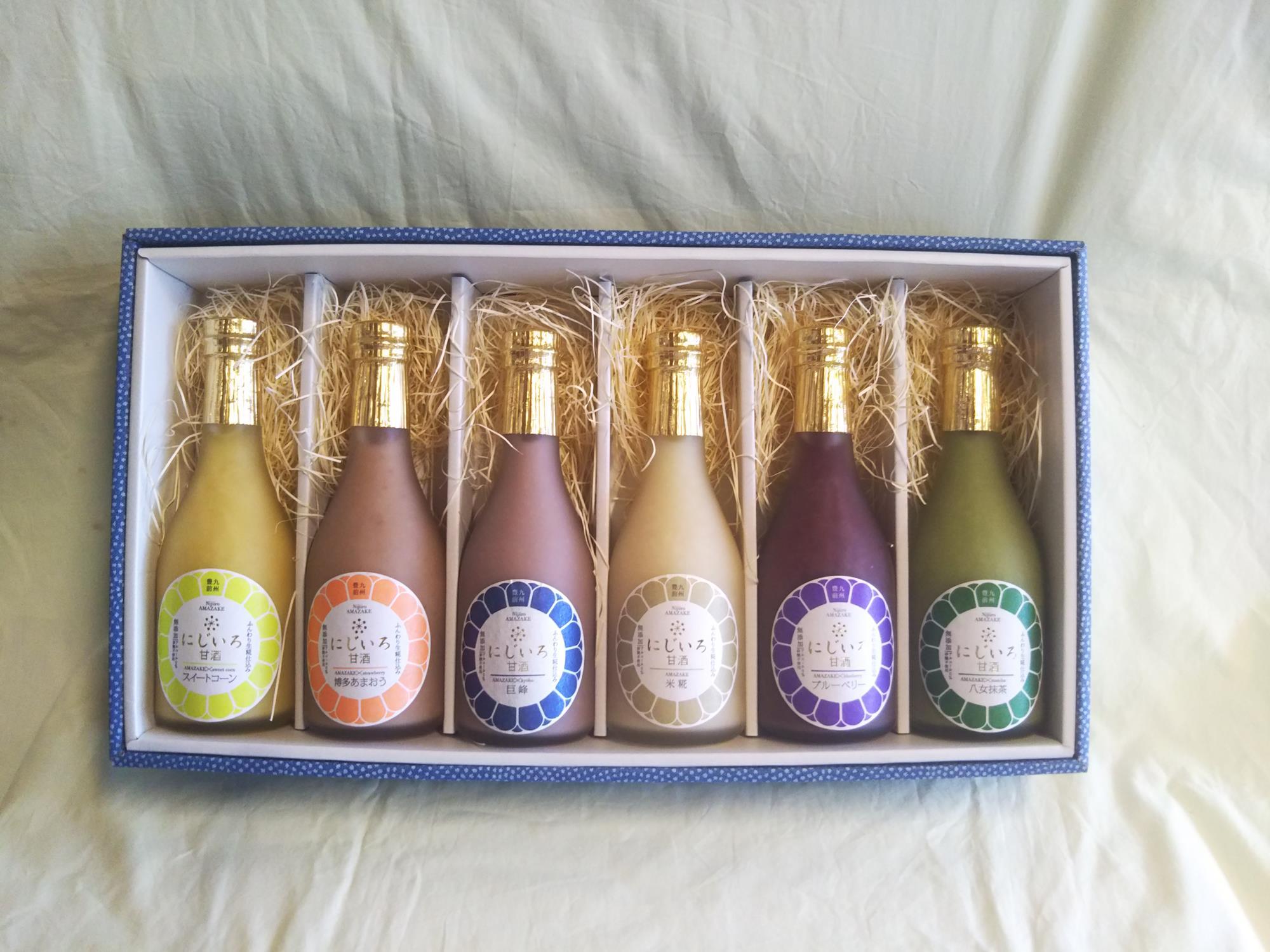 秋限定製造巨峰の甘酒も入ったカラフルな6色ギフト(巨峰・ブルーベリー・博多あまおう・米糀・スイートコーン・八女抹茶)