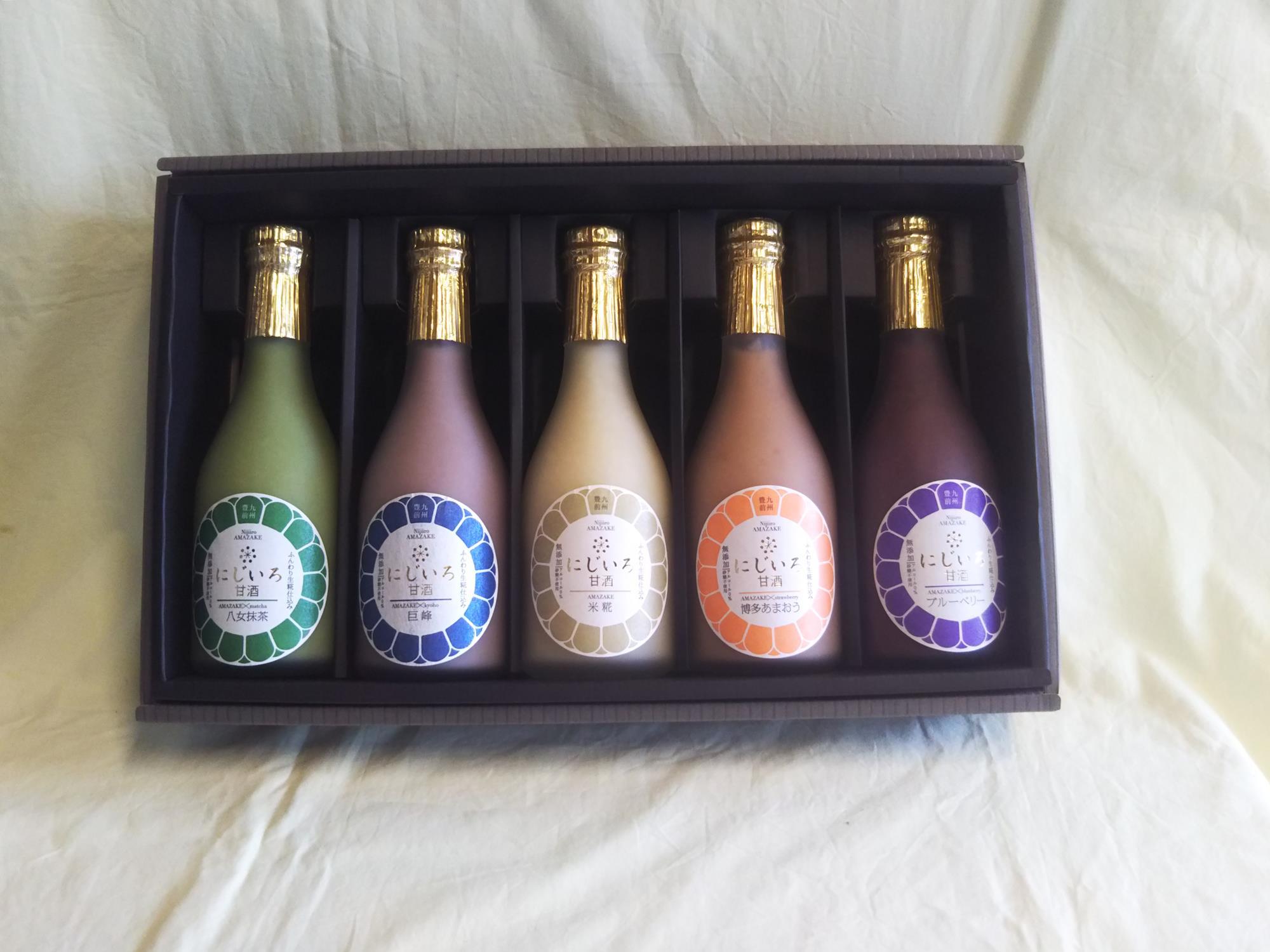 秋限定製造巨峰の甘酒も入った初秋の5色ギフト(巨峰・ブルーベリー・博多あまおう・八女抹茶・米糀)敬老の日・お祝い・プレゼント